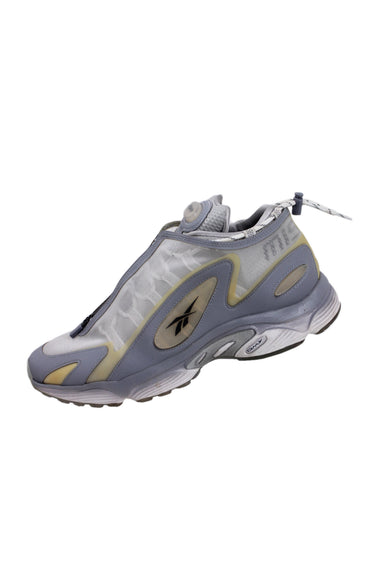 misbhv x reebok daytona dmx grey sneakers. features mesh overlay with zip closure, additional lace-up closure, reflective leather trim, black logo at the vamp and heel, transparent rubberized logo patch at the side and tongue, bungee drawstring at the collar, rubberized midsole, translucent outsole.