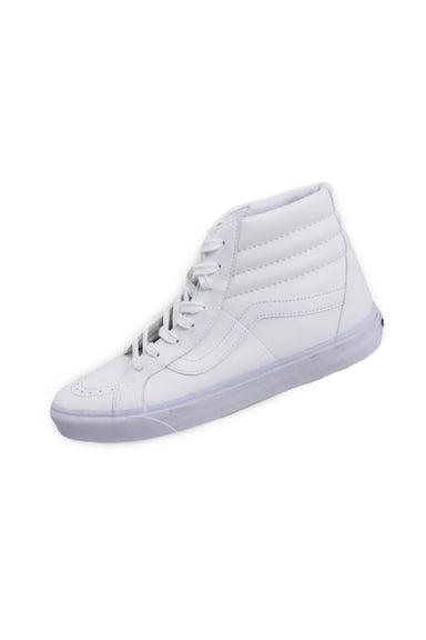 "vans off the wall ivory faux leather lace-up high tops. features lightly padded collar and branding at heel in a tonal design. classic white 1.25"" rubber waffle outsoles, white lace-up closure."