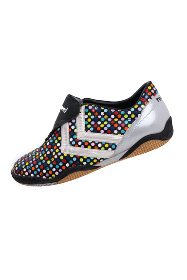 description: hummel black cleats. original tags attached. featuring multicolor polka dots overall.