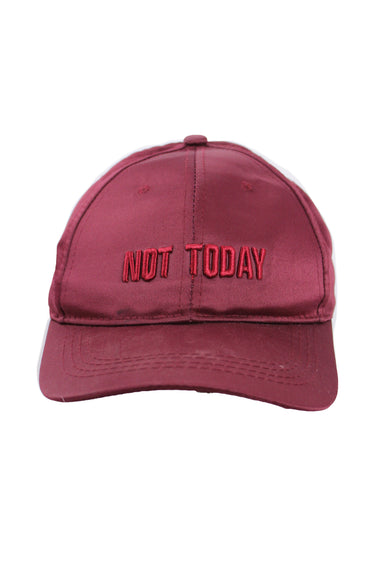 "unlabeled maroon ""not today"" cap. with velcro adjustable back strap."