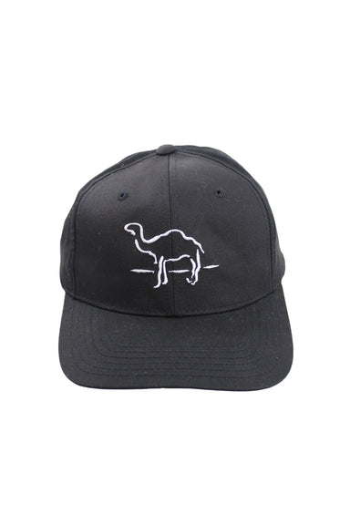 vintage camel black six panel hat. features camel logo embroidered at front and back with adjustable snapback closure.