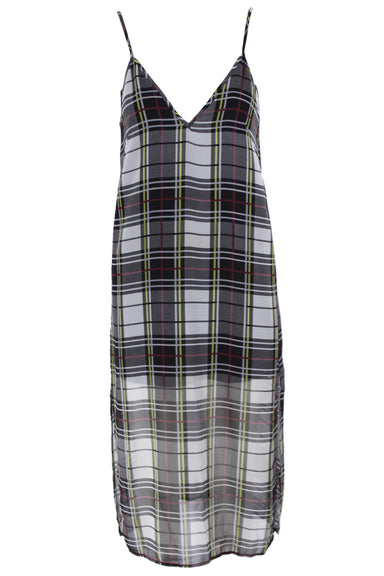 the fifth grey & black plaid print midi spaghetti strap dress. features a v neckline & backline, two side slits, & short dress interior lining. sheer lower portion.