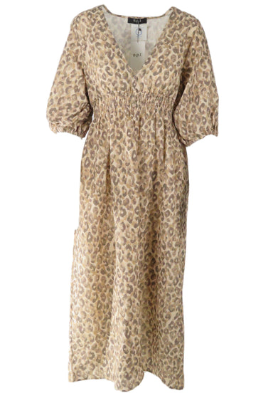 o.p.t brown/ tan animal print. features ruched elastic waistline, v neckline and drawstring sleeves.