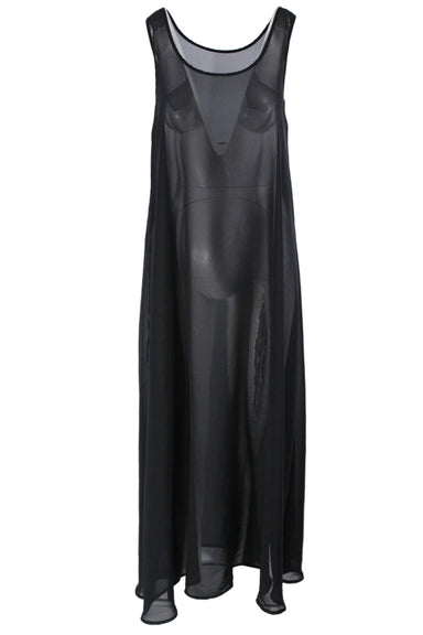 american apparel black maxi tank dress. features a sheer silhouette & round neckline.