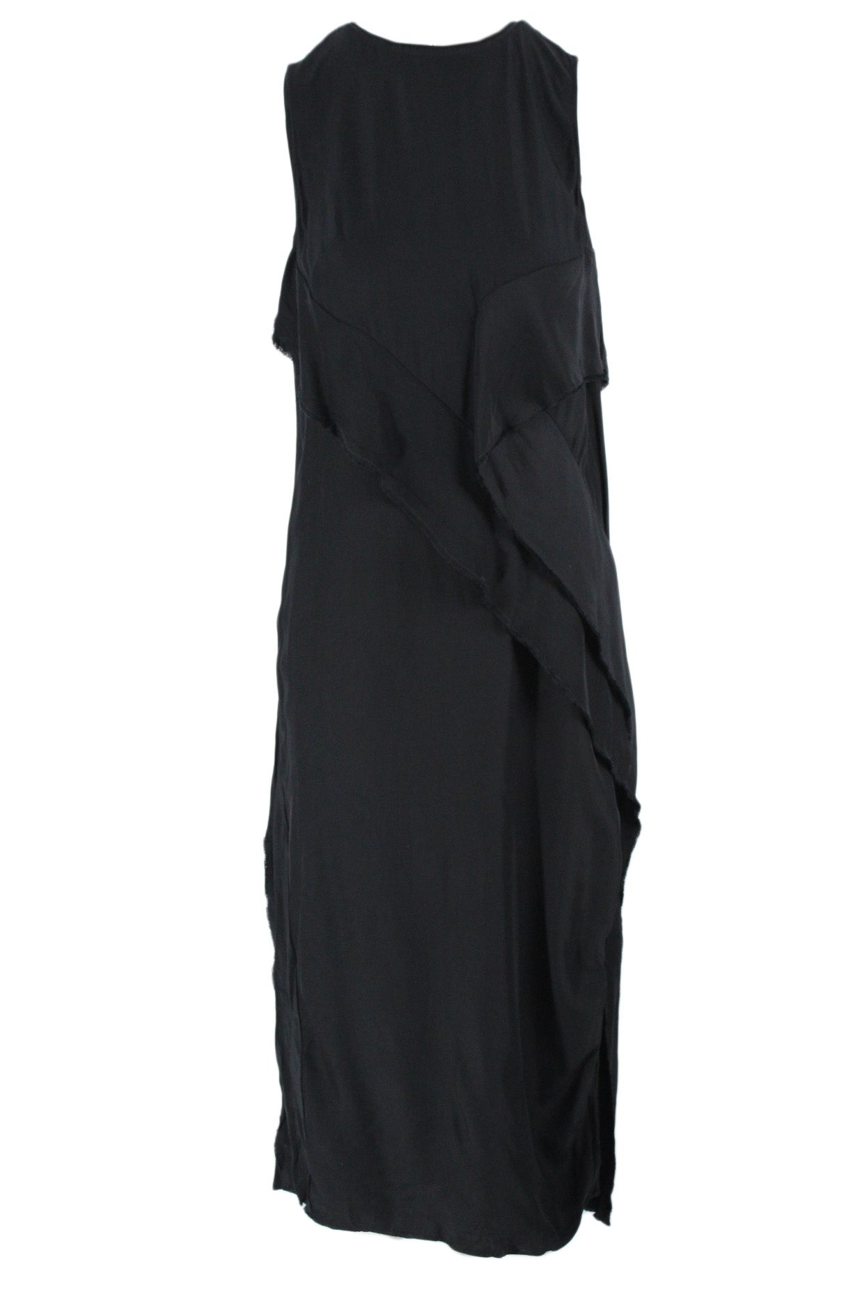 cedric charlier black full length sleeveless sack dress. featuring asymmetrical cascading ruffle panels, side slits on both sides, and back zip closure.