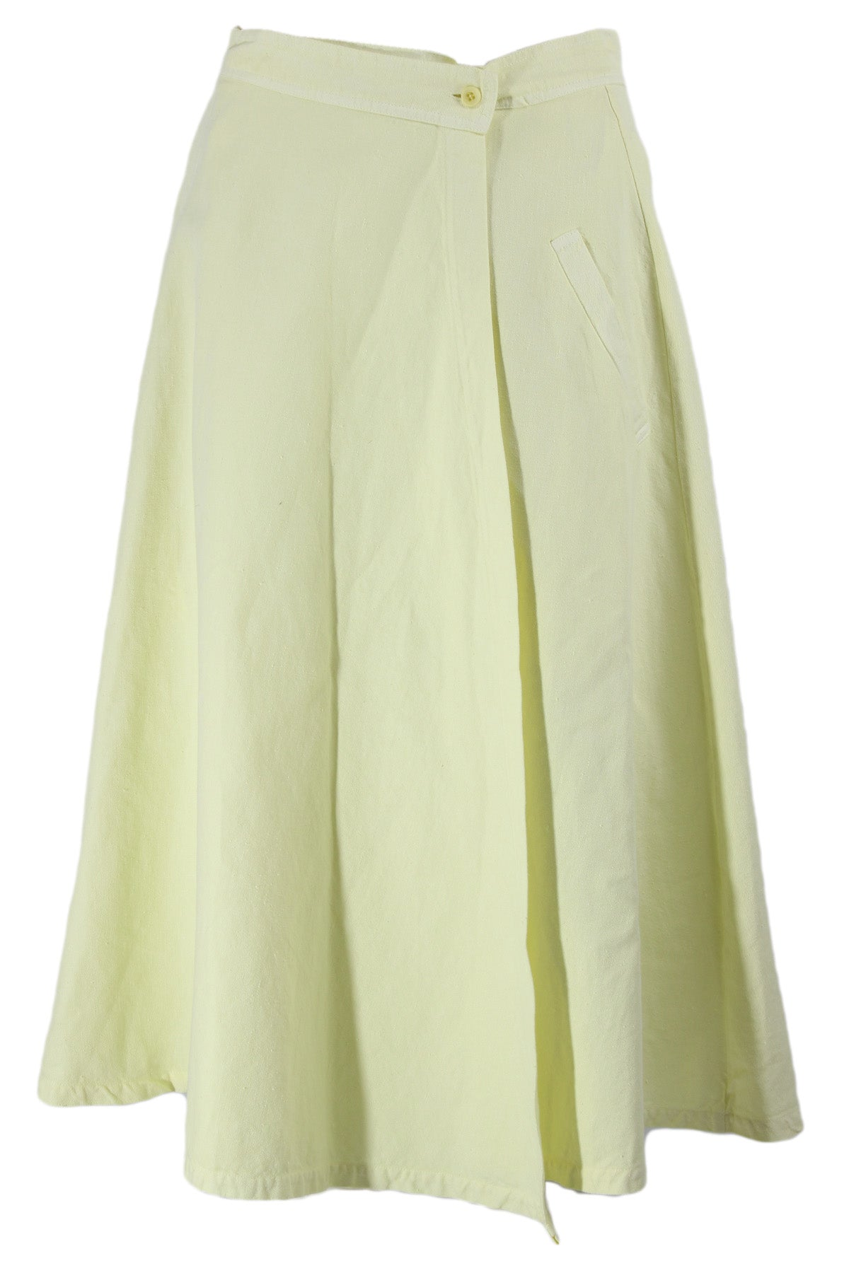 labo art neon yellow wrap midi skirt. features a button closure & two slot pockets.