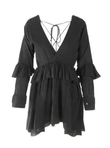 allina liu black mini dress. features deep v neck and ruffle skirt.
