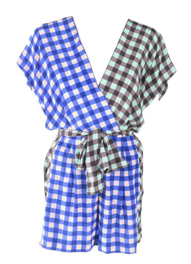 diane von furstenberg blue and green checkered romper. features v neckline with drop sleeves. pockets at side