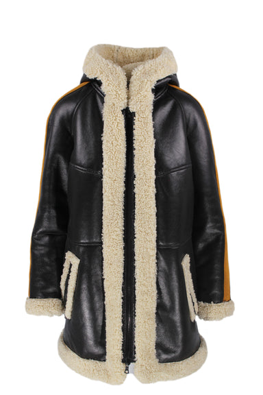 rachel rachel roy black & cream faux leather & shearling coat. featuring camel colored faux suede striping on arms, high neck, and zip closure. with fully lined faux shearling inner, hood, and 2 pockets.