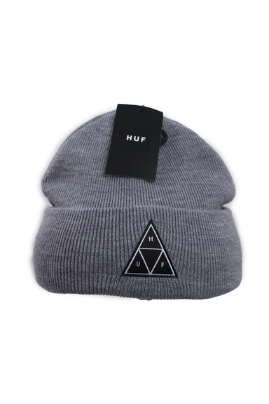 huf heather gray 'essentials tt cuff' beanie. features black and white triangular logo patch at cuff and double-knit construction.