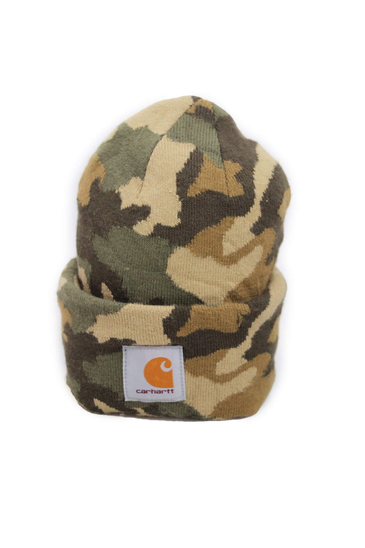 description: carhartt camouflage beanie. featuring logo patch.
