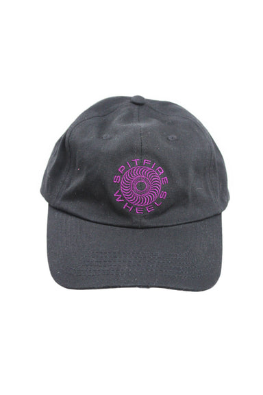 spitfire black embroidered 6-panel cap. features dark magenta embroidered wheel and 'spitfire wheels' front image with branding tab at back. adjustable buckled back, unlined.