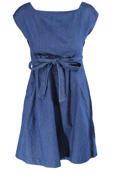 courtshop blue denim short-sleeve short dress. features slash pockets at the side seams, an open back, and a tie at the waist. wrap/tie design.