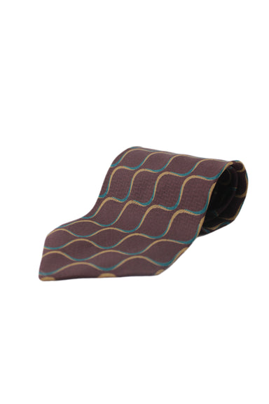 giorgio armani burgundy/multi silk tie. features abstract pattern throughout with logo loop tag at back.