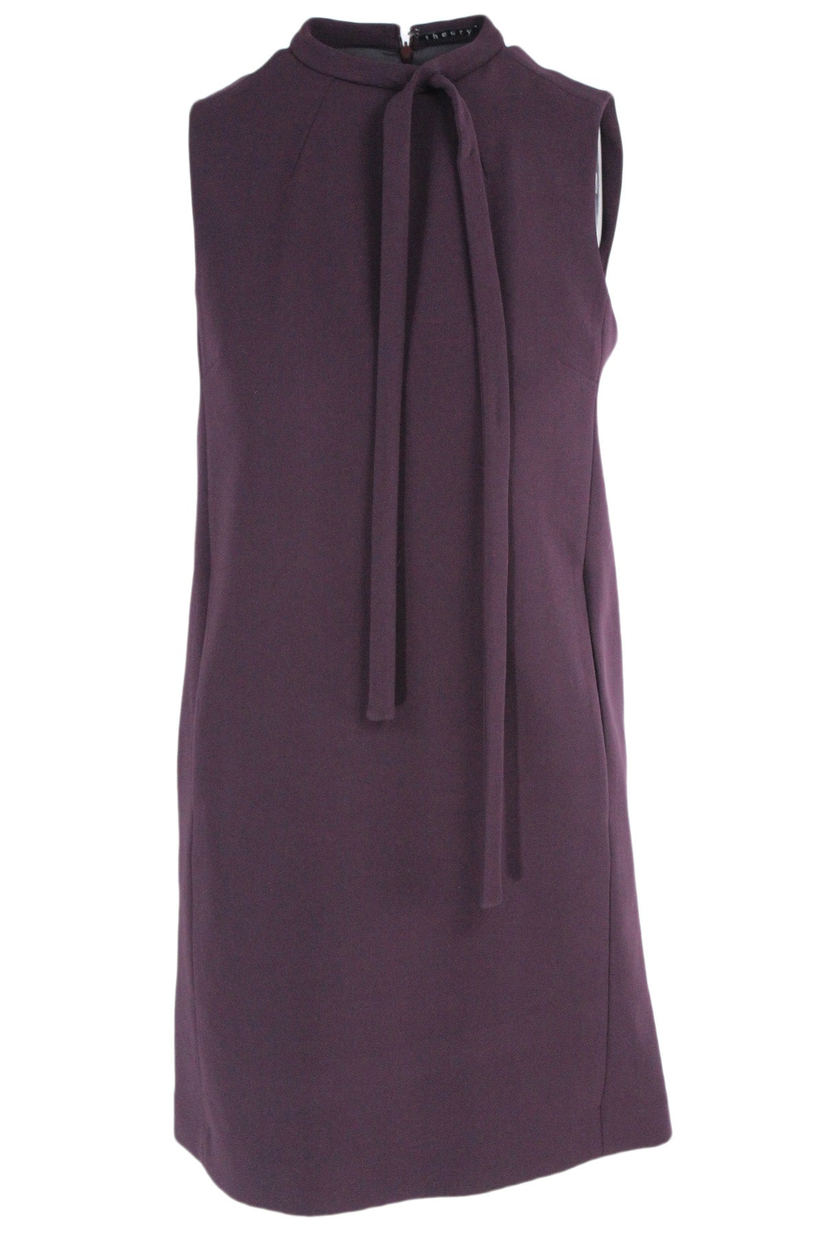 theory plum mockneck sheath dress. features self tie neckline, two side pockets concealed within seam line detail, & a concealed back zipper closure. lined interior.
