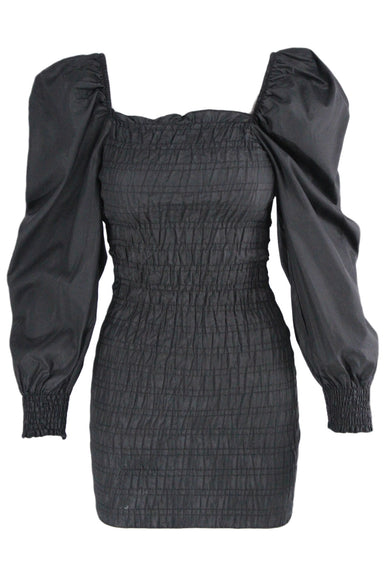 zara black ruched puff sleeve mini dress. no closure, pullovers stretch style.