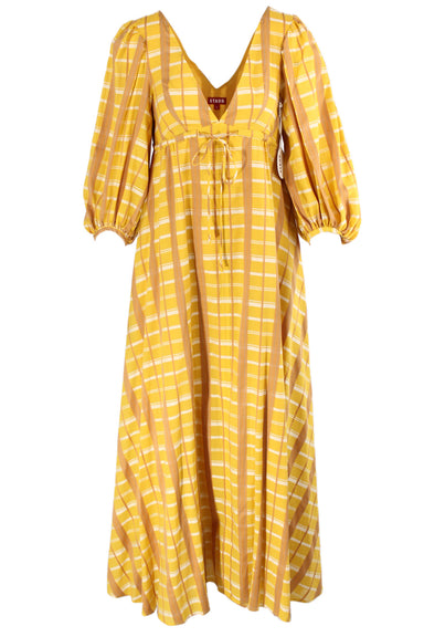 staud marigold & mustard plaid 'amaretti' maxi dress. featuring v-neck & back, puff sleeves & gathered shoulders, oversized a-line silhouette with drawstring at under bust, and full inner lining.