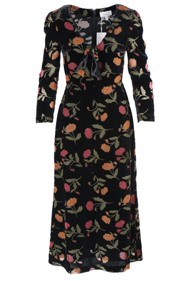 & other stories black & muted multicolored velvet midi dress. featuring floral burnout allover design, gathered shoulders, 3/4 sleeves, v neckline with tie at chest, and back zip closure.
