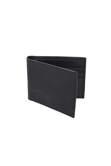 calvin klein black leather passcase/ wallet. features an id card slot, 5 additional card slots, & a cash slot. folds in half.