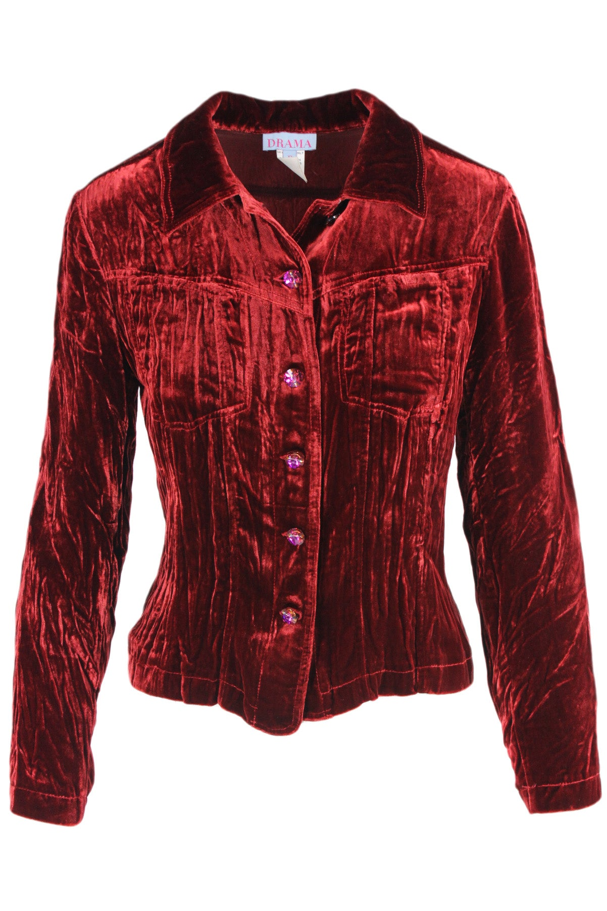 vintage deep red short jacket. features a velvet texture, fuchsia rhinestone button closures, and patch pockets at the chest.