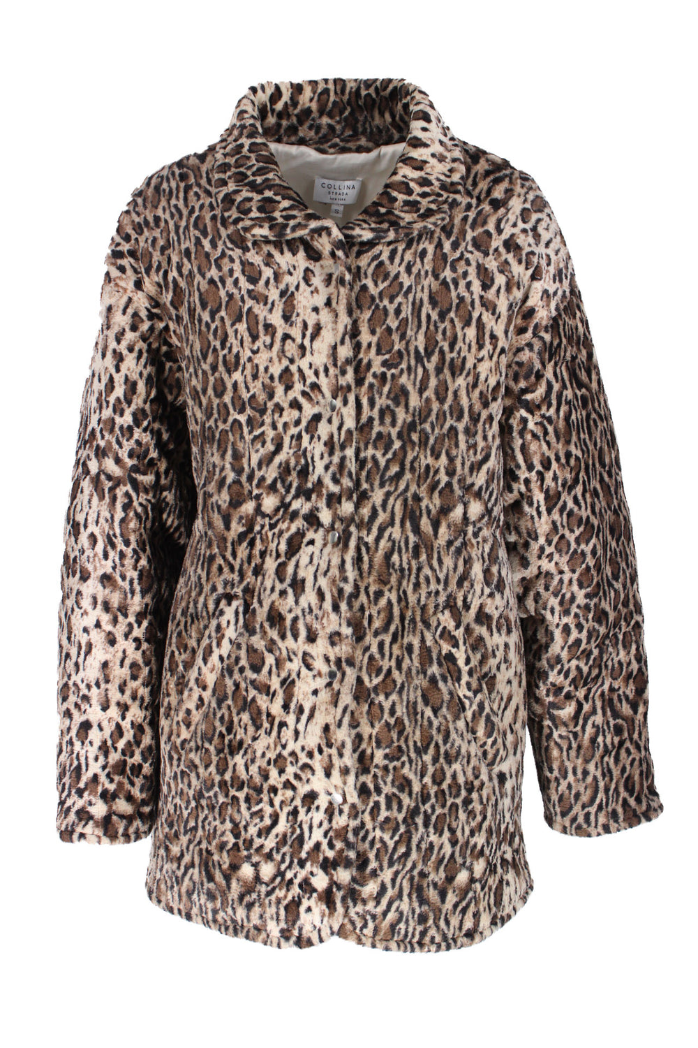 "colina strada leopard print faux fur jacket. featuring snap-down front closure and side pockets. sold in ""as is"" condition, see condition notes and photos."