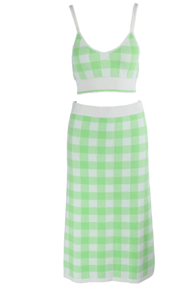 asos green & white plaid print two piece knit set. features a cropped cami top with a v neckline & a midi skirt.