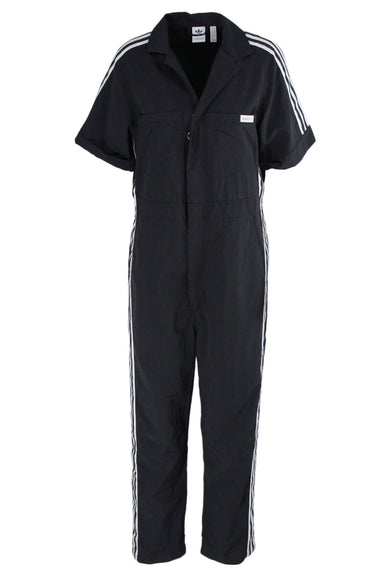 adidas x fiorucci black cuffed short sleeve nylon collared jumpsuit; with white 'adidas loves fiorucci' embroidered on back.  featuring black & white side striping, branded pocket patch, 6 pockets, drop crotch, and concealed zip closure with o-ring hardware.