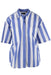 liz sport blue & white striped short sleeve collar shirt. features button down closure & two buttoned chest pockets.