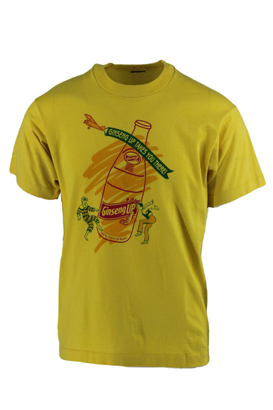 "yellow crewneck graphic tee. features ""giseng up soda"" graphic on front."