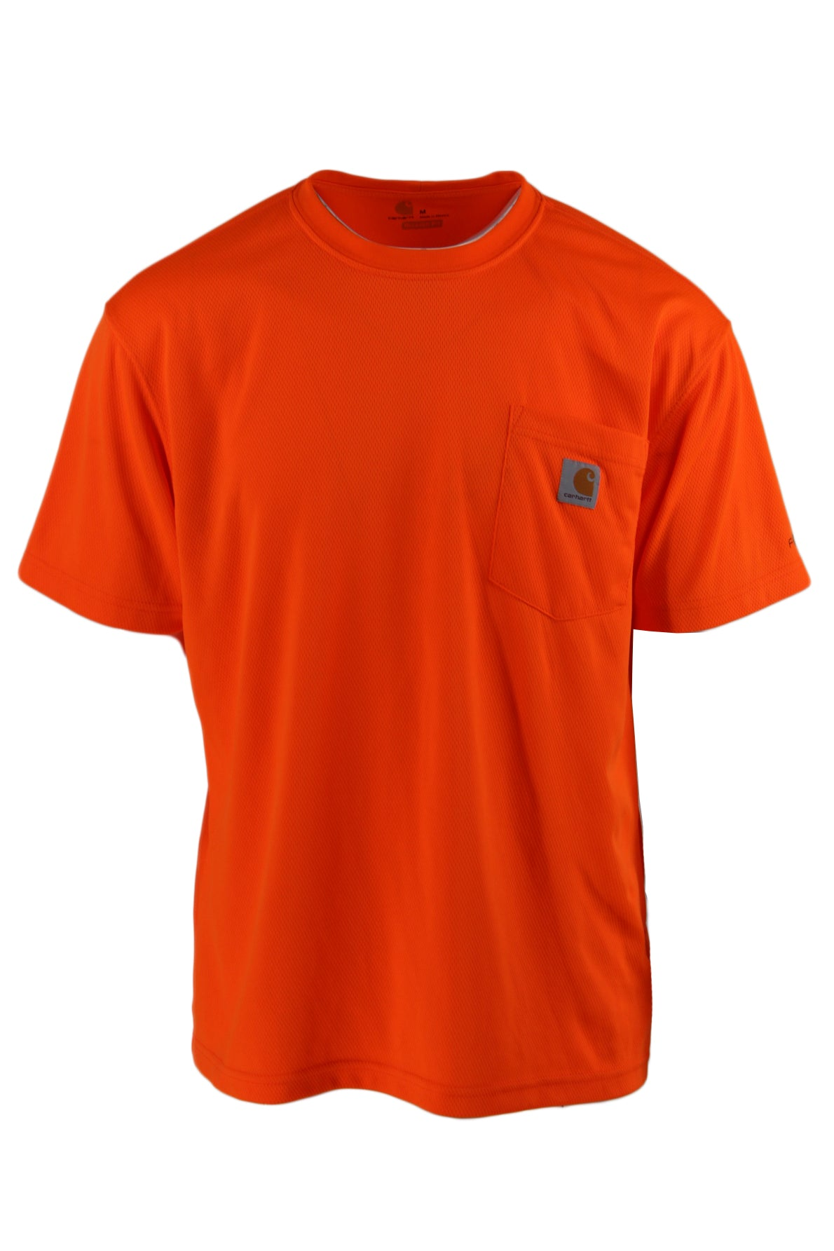 carhartt orange perforated t-shirt. features orange perforated exterior, round neckline, short sleeves and an exterior pocket with logo patch.