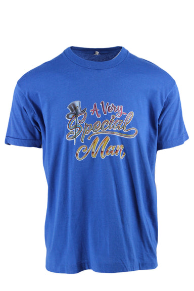 "vintage blue graphic tee. front graphic reads "" a very special man""."