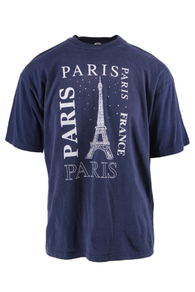 description: vintage navy blue t-shirt. featuring white paris graphic.