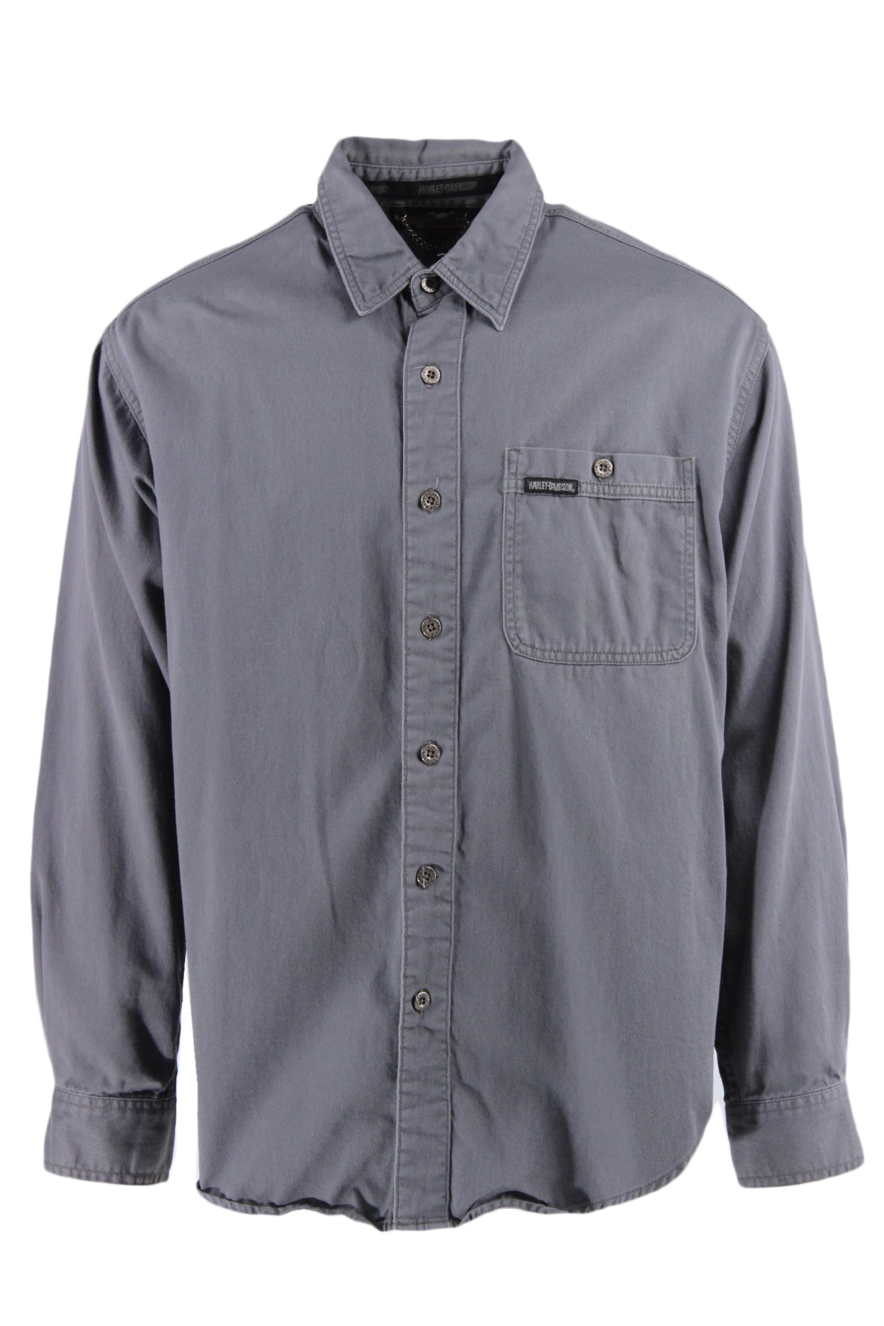 harley-davidson grey long sleeve button up shirt. features logo tag on left breast pocket and logo embroidered at back.