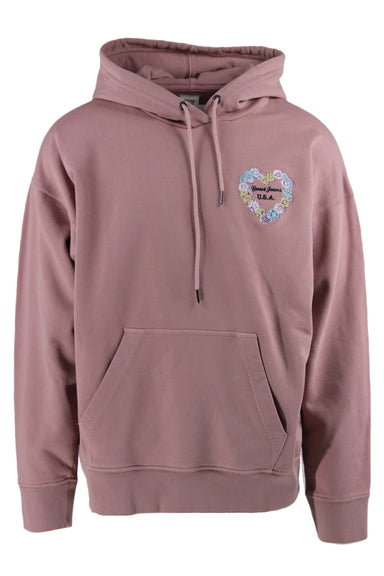 guess mauve pullover hoodie. features kangaroo pocket, drawstring hood, & embroidered heart shaped floral frame on front & back with branding.