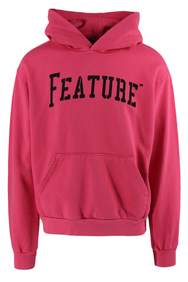 feature pink logo hoodie. features pink exterior with hood, black logo text at chest, long sleeves and exterior pocket.
