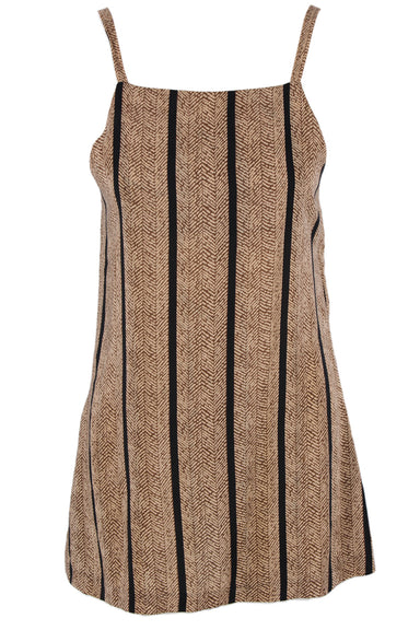 reformation brown print spaghetti strap dress. features black striping throughout & a semi sheer silhouette.