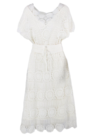vintage white short-sleeve dress. features a crocheted outer, an elastic waistband, and a removable belt. lined.