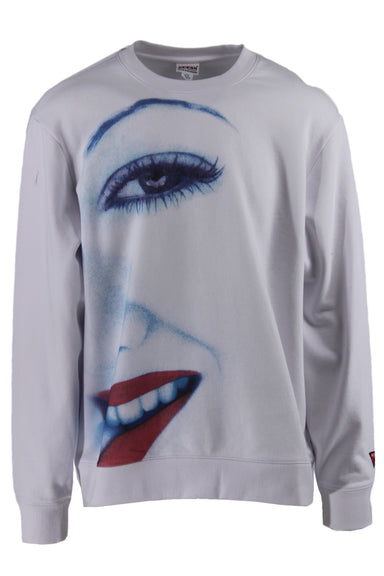description: guess white crewneck sweater. original tags attached. featuring face graphic across the front.