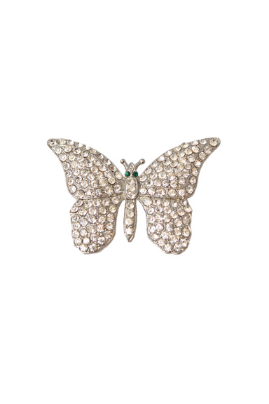 marc jacobs rhinestone butterfly brooch. features silver toned base, rhinestones throughout with two green rhinestones at center and bar clasp closure.  length: width:
