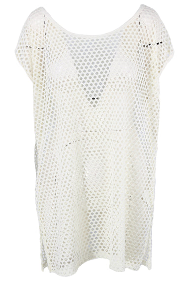 elan beach white short sleeve cover up dress. features side slits at the bottom body, and a circular cutout design throughout.