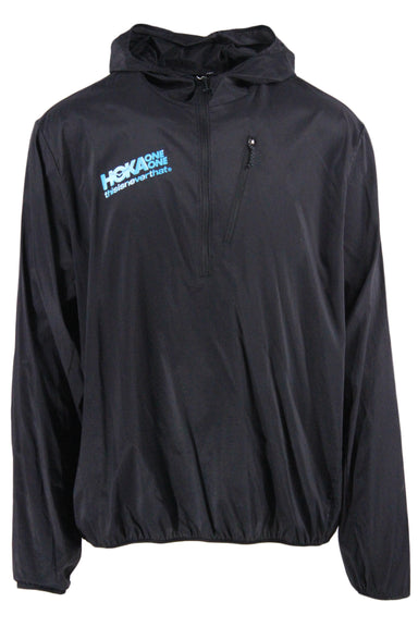 hoka one one black raincoat. features black exterior, blue logo text at chest, black zipper closure, exterior pockets, long sleeves and hood.