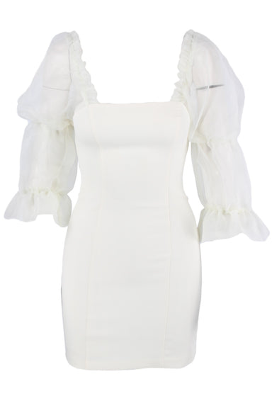 amanda uprichard ivory square neck dress. featuring chiffon voluminous puff sleeves with elastic throughout (can be worn on or off shoulder), contour seems, form fitting silhouette, and back zip closure. with full inner lining.