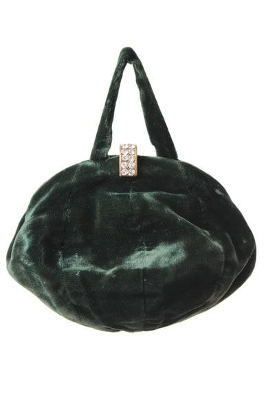 vintage emerald purse. features a velvet exterior and rhinestone closure.