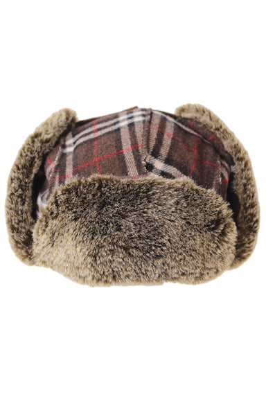 rei brown tartan plaid aviator winter hat.
