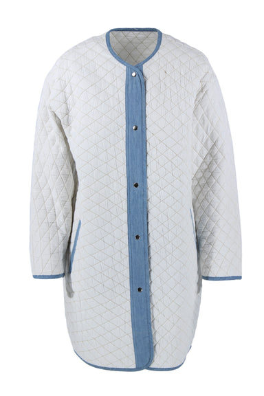 unlabeled white quilted jacket. features blue trim and brown contrast stitching throughout with silver tone buttons down center.