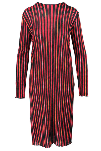 zara trafaluc red, black, yellow, & white striped lightweight knit dress. featuring vertical striping, long sleeves, lettuce hems, and slim relaxed fit.
