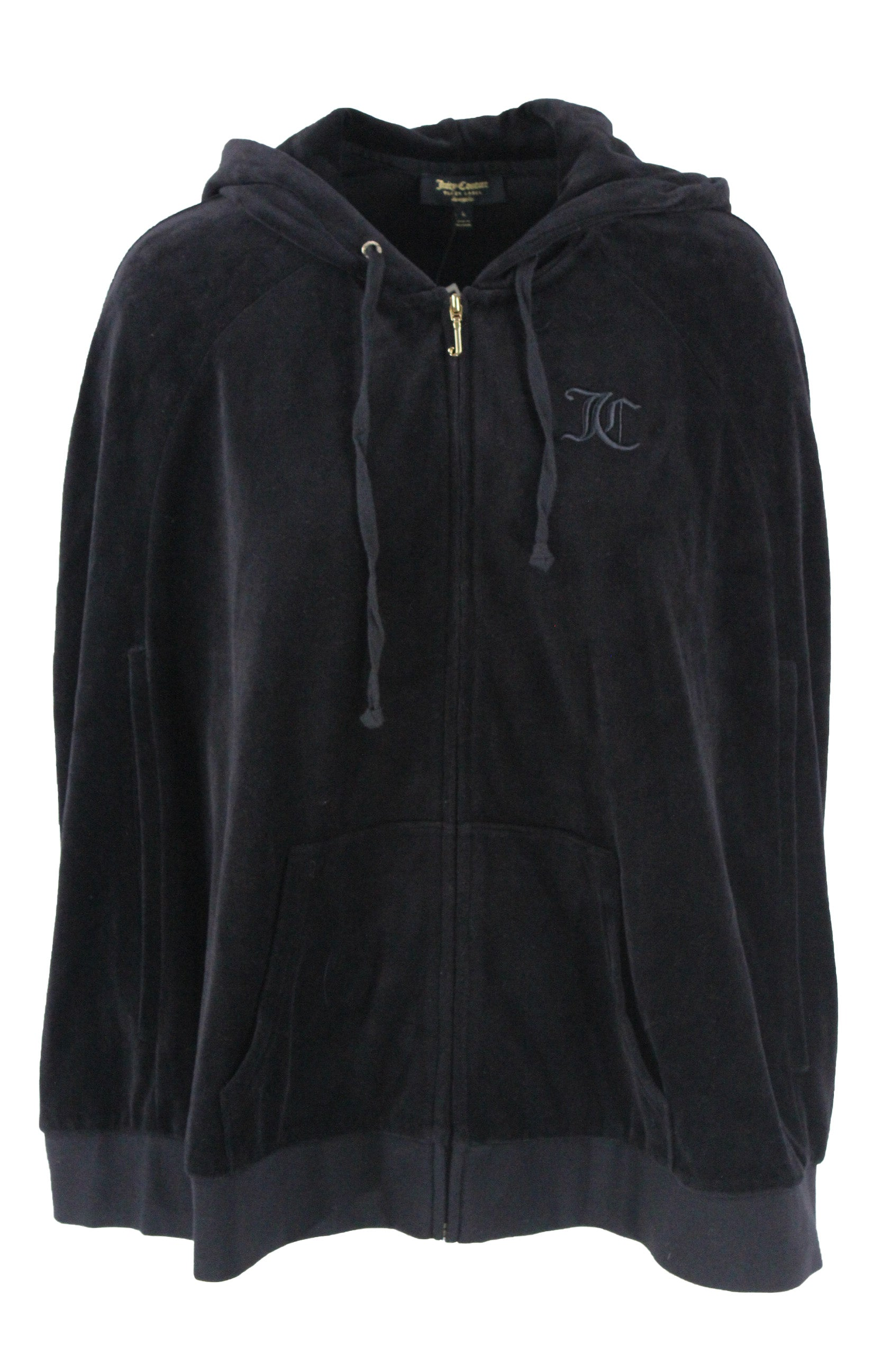 "juicy couture black label black velour cape. features embroidered ""jc"" logo at bust, gold toned hardware, zipper at front center with exterior pockets, arm holes and an elastic band at hem."