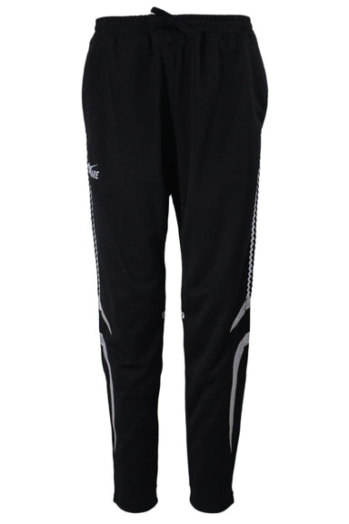 pink dolphin black knit track pants. featuring silver panels & side striping trim, silver 'rare' ghost graphic on right leg, patch on back, 3 pockets, elastic banded waist with drawstring, and tapered leg silhouette with concealed ankle zippers.