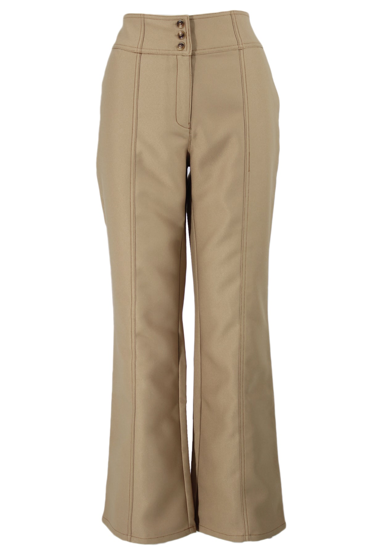 viden sand tone high waisted pants. features sand tone exterior, brown contrast stitching, exterior pockets, wide legs and both exterior tortoise shell button closures and a concealed zipper closure.