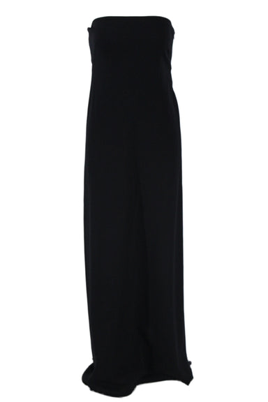 jil sander black floor length knit tube gown. featuring cross over draped back, reinforced interior bust, darting details at chest, and concealed side zip closure.